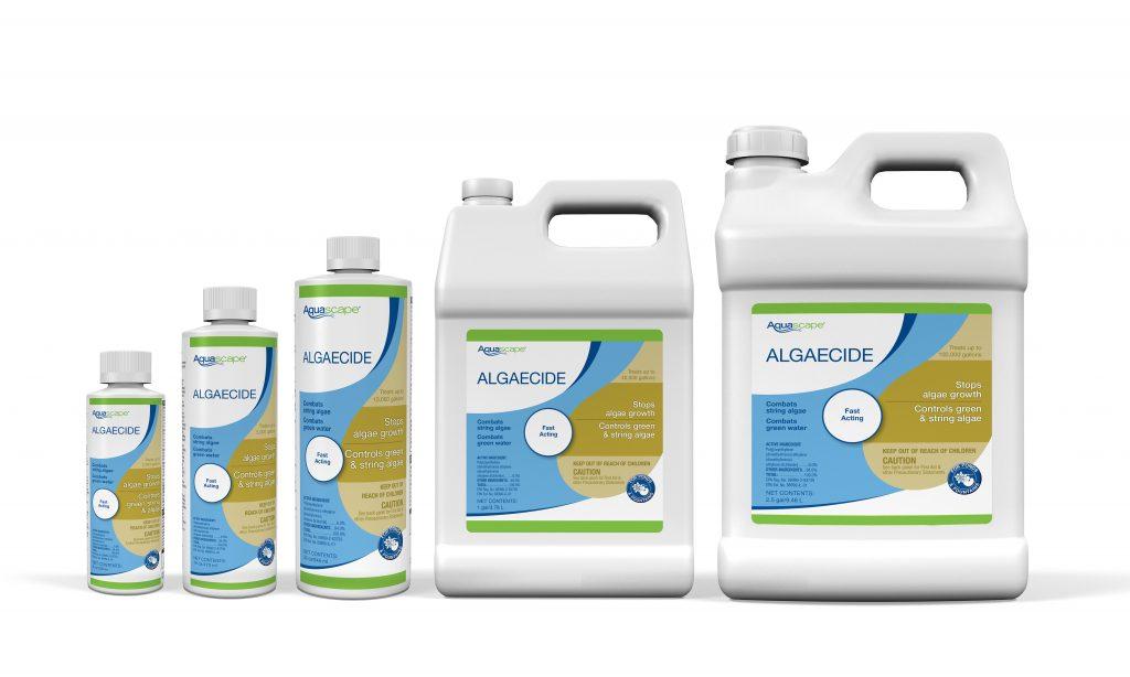 Productos de Algaecide en el fondo