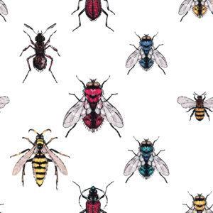 Bordado bicho marrón, hormiga del bosque, amarillo, rojo, azul y verde moscas, abeja miel, avispa. Parche de moda con ilustración de insectos.