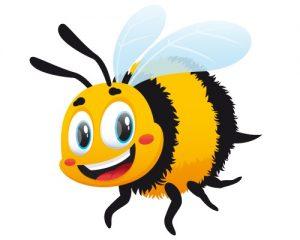 Manosee la abeja en el fondo blanco.