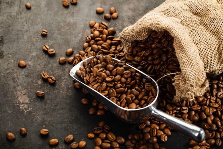 semillas de café sobre la mesa