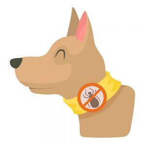 Cuello de perro de dibujos animados que evita las pulgas