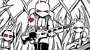 De dibujos animados combatientes del ejército sosteniendo armas