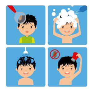Un chico de dibujos animados está lavando su pelo