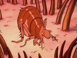 Una pulga de dibujos animados en la piel humana