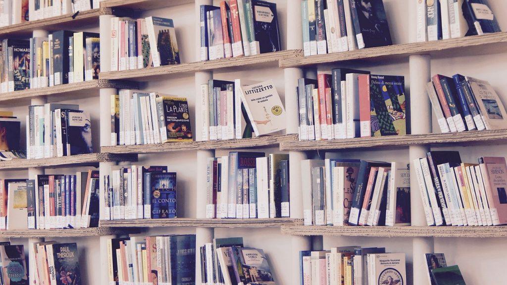 Un montón de libros en la estantería