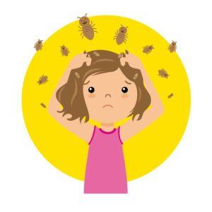 Una chica con un montón de piojos en la cabeza