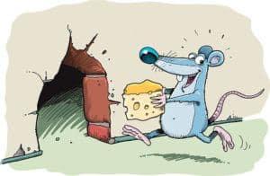 Un ratón de dibujos animados está robando queso y corriendo a su casa