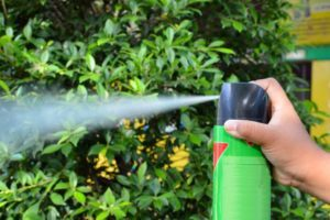 Spray de plaguicida que funciona en la mano del ser humano.