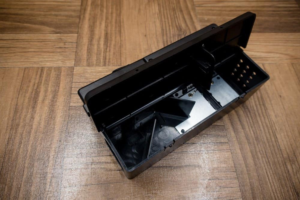 Una trampa de rata eléctrica negra en el suelo