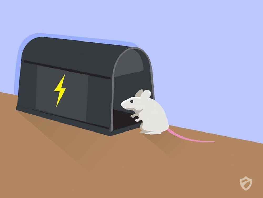 Una trampa de electrocución de dibujos animados