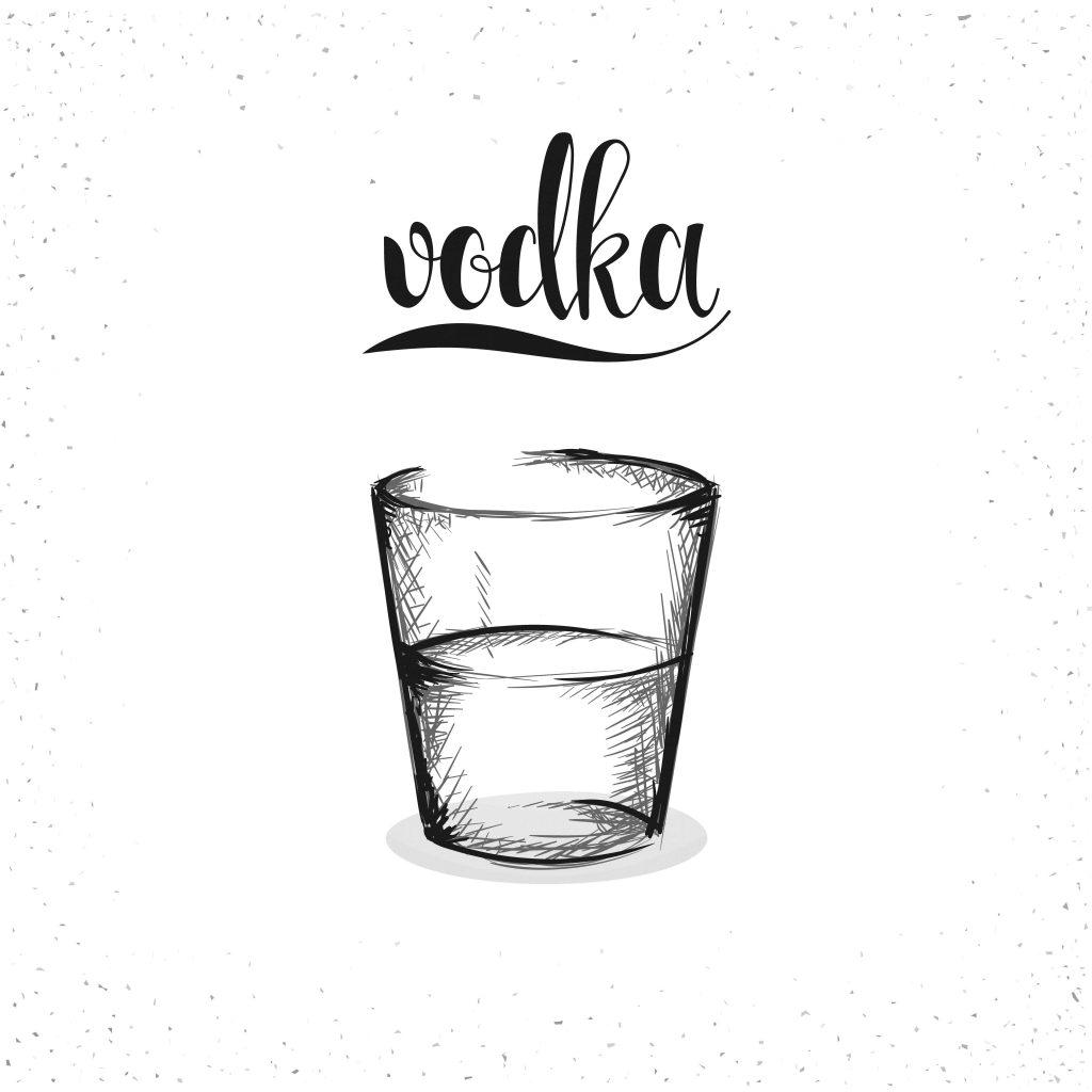 Dibujo de vodka en blanco