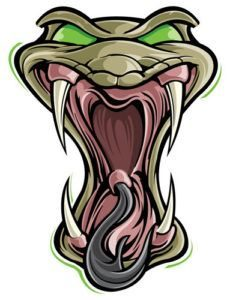 Víbora serpiente com grande boca aberta
