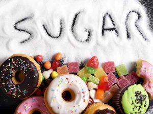 Mezcla de pasteles dulces donuts y dulces con la extensión de azúcar