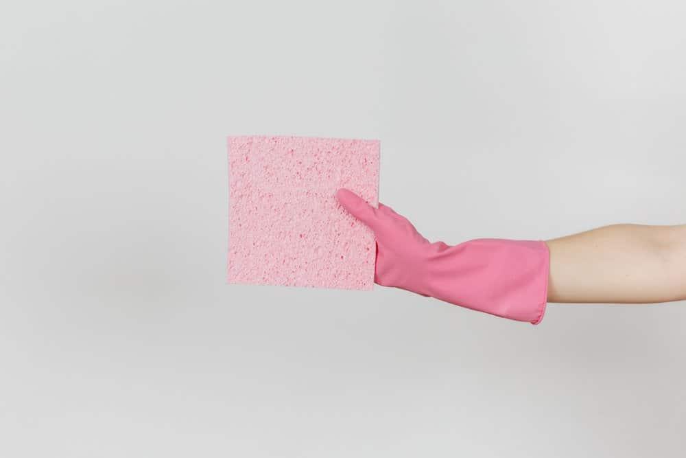 Una mujer está sosteniendo una esponja rosa en la mano
