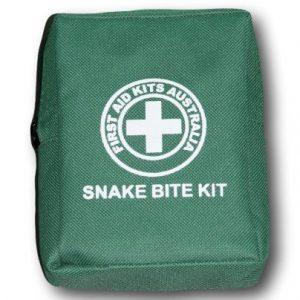 Kit de mordedura de serpiente verde sobre fondo blanco