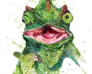 Ilustración acuarela lagarto
