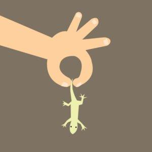 Imagen de la historieta de la mano cogiendo un lagarto-vector de la casa.