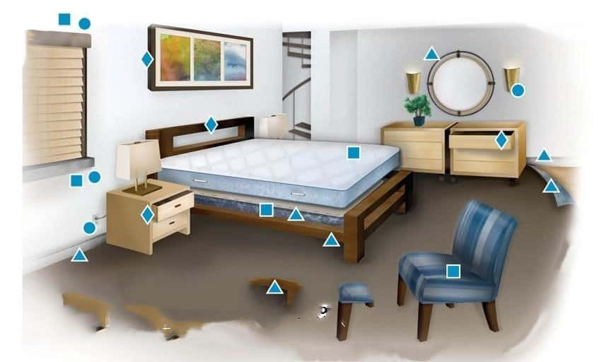 Los escondites de insectos de la cama en la casa