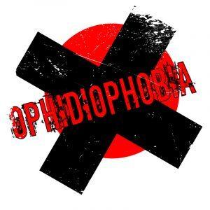 Sellos de ofidiofobia en fondo blanco