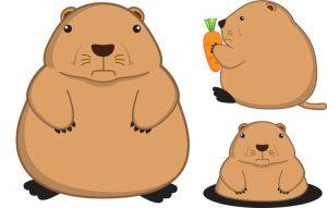 Dibujos animados de perro de las praderas grasas