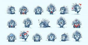Establecer puercoespines de caricatura de personajes emoji